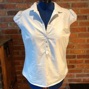 Zara Basic Blue Oxford Cap Sleeve Shirt, XL